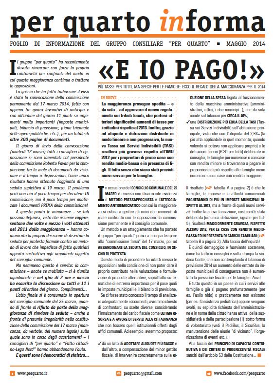 """""""per quarto informa"""" - Maggio 2014"""